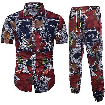 Allthemen Men's Leisure Leaf Printed Short-Sleeve Shirt Suit