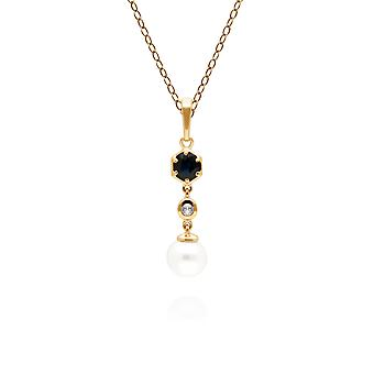 Modern Pearl, Sapphire & Topaz Drop Pendant Necklace in Gold Plated Sterling Silver 270P030101925