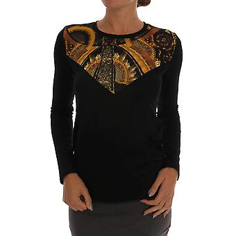 Versace Jeans Black Stretch Baroque Pullover Sweater