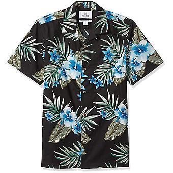 28 Palms Men's Standard-Fit 100% Cotton Tropical Hawaiian Shirt, Black/Blue H...
