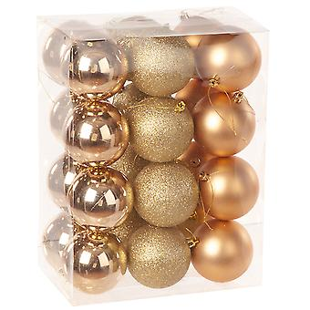 24 Champagne Gold 6cm Shatterproof Christmas Tree Bauble Décorations