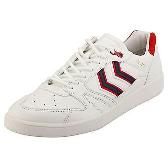 hummel Hb Team Crest Mens Casual Trainers in White Red