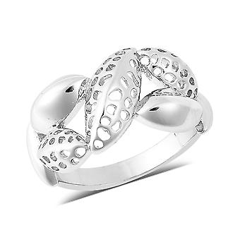 RACHEL GALLEY Silver Lattice Leaf Ring Beste Cadeau voor vrouwen en meisjes Maat L