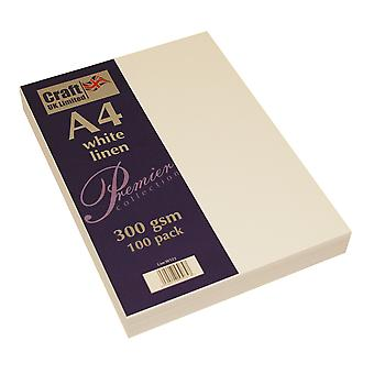 Craft UK Premium Collection A4 White Linen Paper Pack