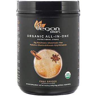 VeganSmart, Organic All-In-One Nutritional Shake, Chai Spices, 18.27 oz (518 g)