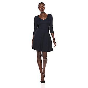 Lærke & Ro Kvinder's Three Quarter Sleeve V-Neck Fit og Flare Dress, Navy, Small