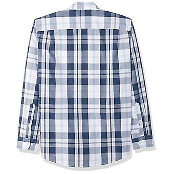 أساسيات الرجال & apos;ق العادية تناسب طويلة الأكمام عارضة قميص بوبلين, أبيض / نا ...