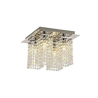 Éclairage Luminosa - Lumière de plafond semi-flush, 4 x G9, IP44, Chrome poli, Cristal