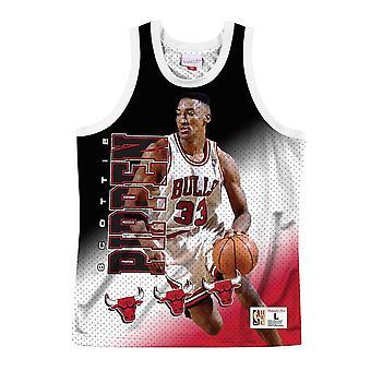 Mitchell & Ness NBA Por trás do back tank Chicago Bulls Scottie Pippen MSTKMI19002CBUWHITSPI basquete todo o ano t-shirt masculino