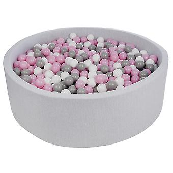 Hoyo de bola 125 cm con 1200 bolas blancas, púrpura claro y gris