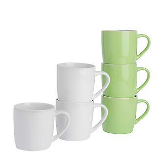 Tazas de café de vajilla de argón - 6pc de cerámica de color contemporáneo Set - 350ml - verde y blanco