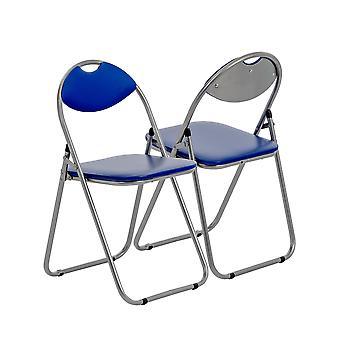 Blue Padded, Folding, Desk Chair - Pack of 4