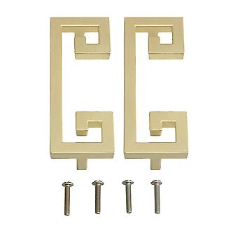 2 Pieces Bright Copper Cabinet Handle Pulls Hole Distance 96mm