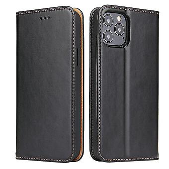 For iPhone 12 Pro/12 Case Leather Flip Wallet Folio Cover with Stand Black