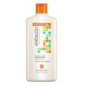 Andalou Naturals Kosteus rikas Shampoo, Argan Öljy & Shea 11,5 Oz