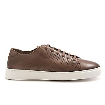 J. Wilton Brown Perforated Leather Sneakers