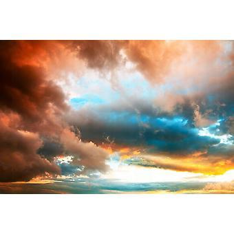 Tapet väggmålning dramatisk solnedgång