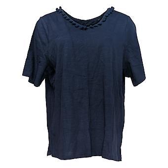 Belle By Kim Gravel Women's Top Slub Knit Pom Pom V Neck Blue A351260