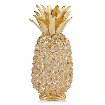 "11"" Faux Crystal and Gold Pineapple Sculpture"