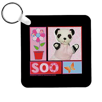 Sooty Soo Floral Text Butterfly Keyring