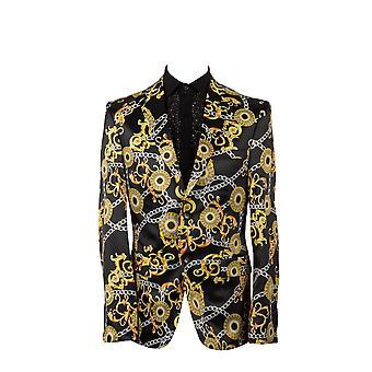 Oscar Banks Golden Ornament Baroque Print Mens Blazer