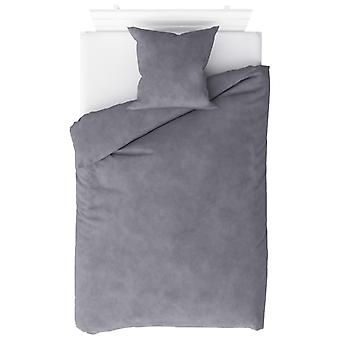 2-tlg. Bettwäsche-Set Fleece Grau 140 x 220 / 60 x 70 cm