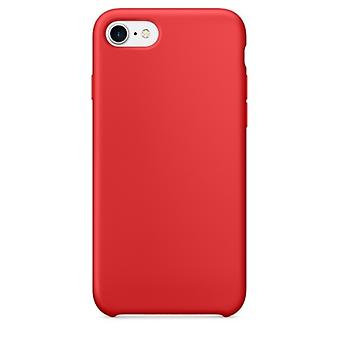 Voor iPhone 8 en 7 Pure Color Liquid Siliconen + PC Shockproof Defender Case (Donkerrood)