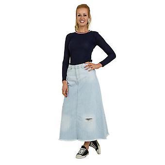 Long distressed denim skirt with raw hem - palewash - size 8 only