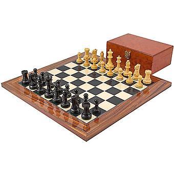 Juego de ajedrez ébano Supremo con caja de madera del Burl
