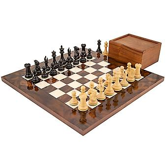 Highclere Ebony and Walnut Luxury Chess Set