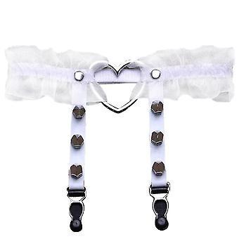 Frauen Punk Gothic Herz-Form Ring Spikes elastische Strumpfband Gürtel Hosenträger