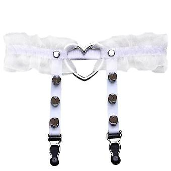Women Punk Gothic Heart-shape Ring Spikes Elastic Garter Belt Suspenders