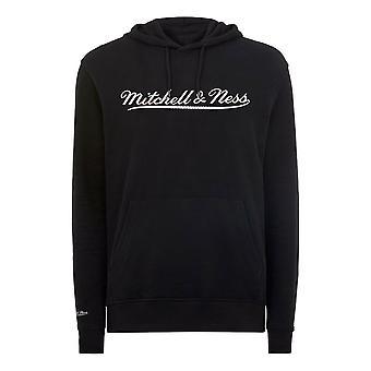 Mitchell & Ness Script Logo Black Hoodie Mens Hooded Pullover Jumper A40CD