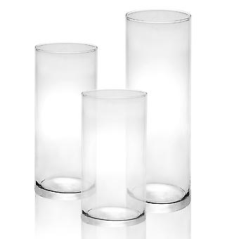 glass stearinlys sylindere - sett med 3 | M&W
