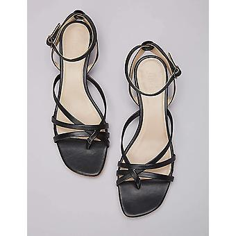 Brand - find. Women's Asymetric Toe Thong Wedge Sandal, Black, US 9.5