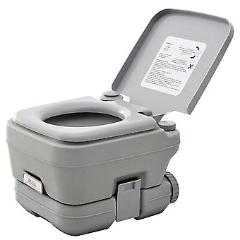 HOMCOM 10L Portable Travel Toilet Outdoor Camping Picnic with 2 Detachable Tanks & Push-button Operation, Grey
