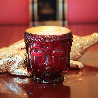 Ruby Red Glass Buddha- Lined With 24k Gold And Soy Wax Candle