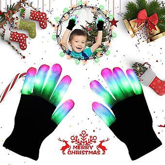 Aomeiqi ilumina guantes, guantes led parpadeando guantes de luz de dedo coloridos guantes rave para niños hallo