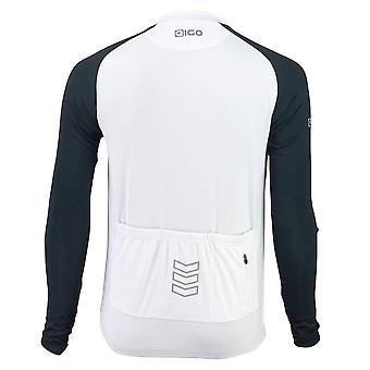Eigo Tempest Mens Long Sleeve Short Zip Cycling Jersey Black / White