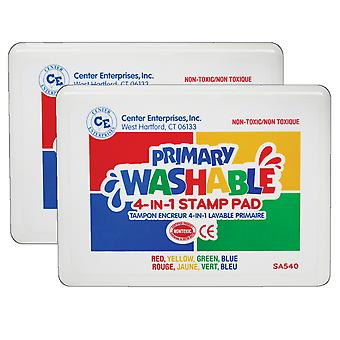 Washable 4-In-1 Stamp Pad, Primary, Pack Of 2