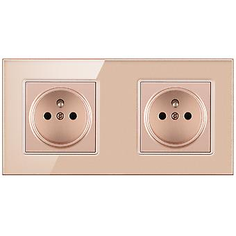 Glass Panel With Pins Two-slot Wall Power Socket 16a