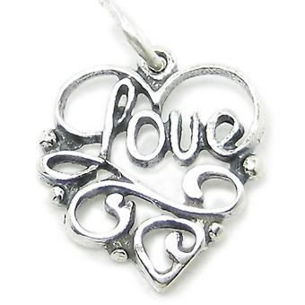 Love Sterling Silver Charm .925 X 1 Loving Caring Charms Pendants - 2614