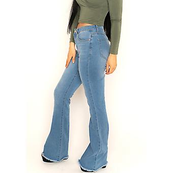 Raw Hem Bootcut Jeans Long Leg - Blue