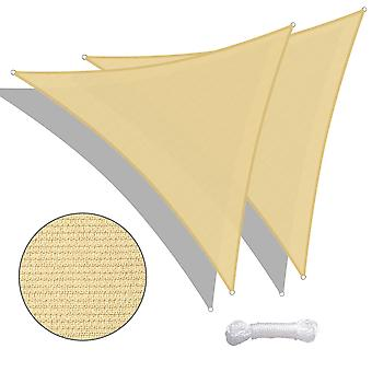 Yescom 2 Pack 20 Ft 97% UV Block Triangle Sun Shade Sail Canopy Outdoor Pool Cover Net