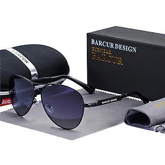 Barcur Mirror Aurinkolasit - Titaani seos Pilot Lasit UV400 ja Polarisaatio filter miehille ja naisille - Musta