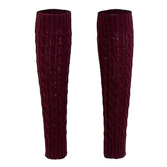 Leg Warmer Winter Warm Twist Solid Knitted Crochet Thigh High Leggings Boots