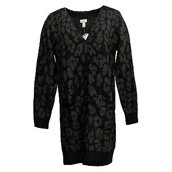 LOGO by Lori Goldstein Women's Sweater Leopard Button Up Cardigan A386791