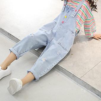 المراهقين jumpsuit ل، أطفال الدنيم ممزق السراويل / الجينز