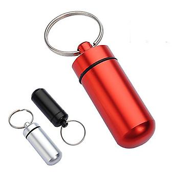 4 pcs Aluminium Pill Box Case Bottle Holder Container Keychain