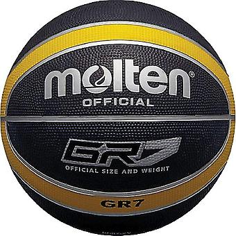 Gerui Official Black/Yellow Rubber Basketball - Size 6